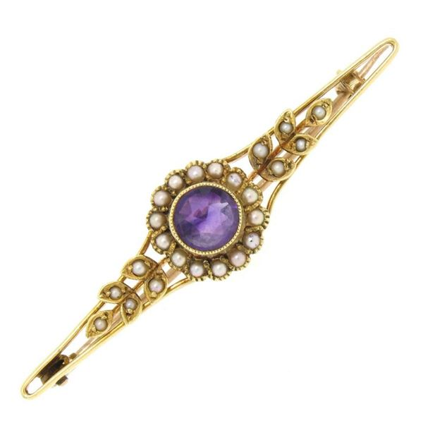 15k Yellow Gold .64 ctw Old Cut Amethyst & Seed Pearl Brooch Pin