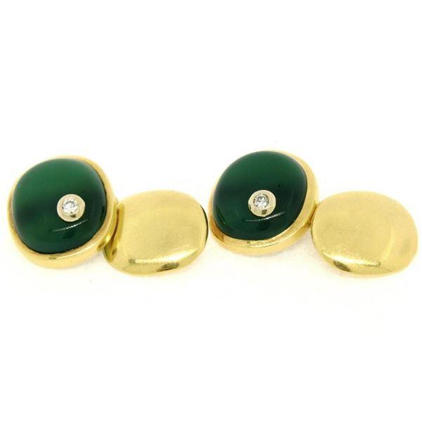 Manfredi 18k Yellow Gold Cabochon Green Chrysoprase & Diamond Men's Cuff Links