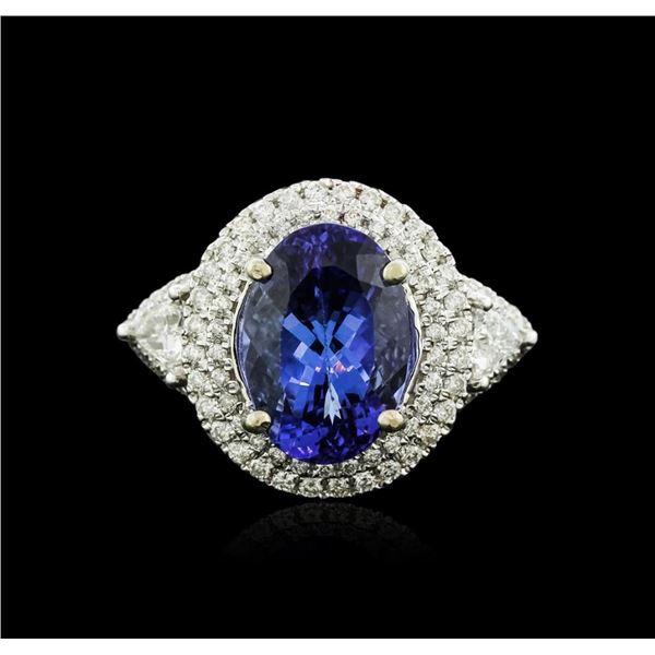 14KT White Gold 3.50 ctw Tanzanite and Diamond Ring