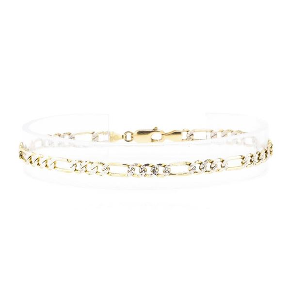 Pave Figaro Bracelet - 14KT Yellow Gold with Rhodium Plating