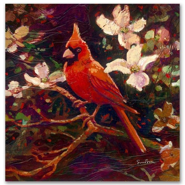 """""""Cardinal"""" Limited Edition Giclee on Canvas by Simon Bull, Numbered and Signed."""