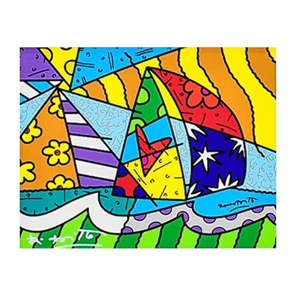 """Romero Britto """"New Sailing"""" Hand Signed Giclee on Canvas; Authenticated"""