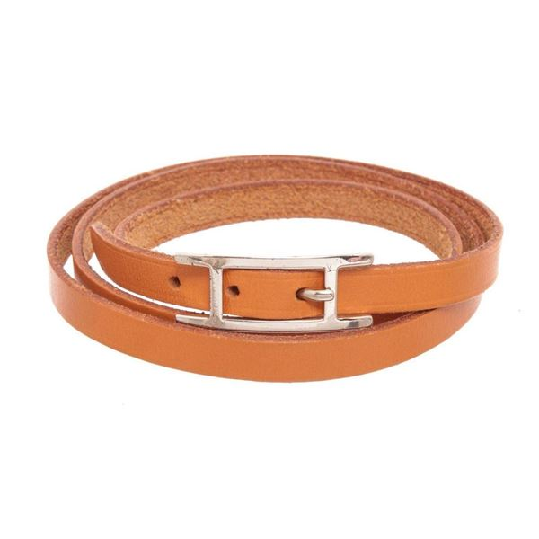 Hermes Brown Leather Hapi 15cm Bracelet