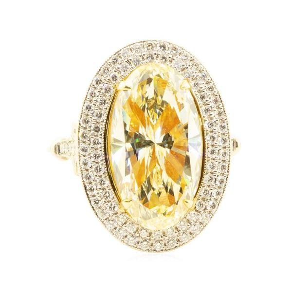 4.76 ctw Yellow Diamond Ring - 18K White and Yellow Gold