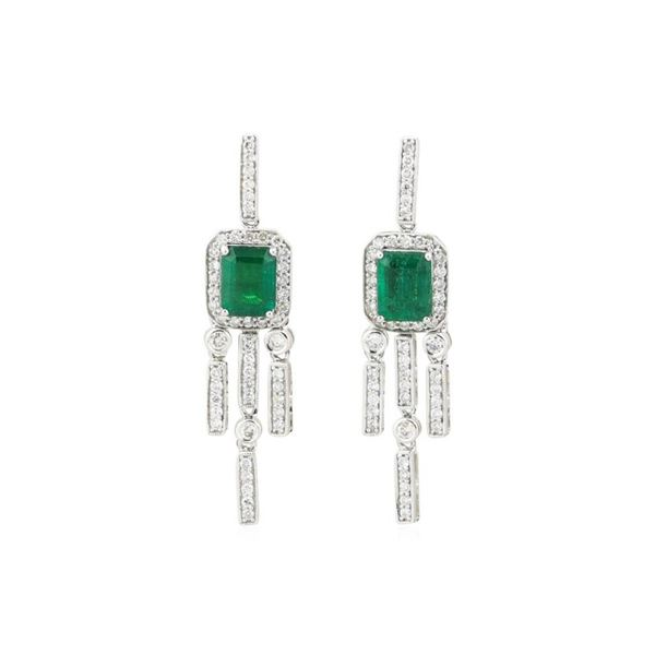 3.2 ctw Emerald and Diamond Earings - 18KT White Gold