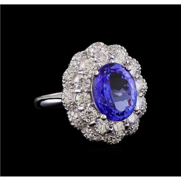 4.70 ctw Tanzanite and Diamond Ring - 14KT White Gold