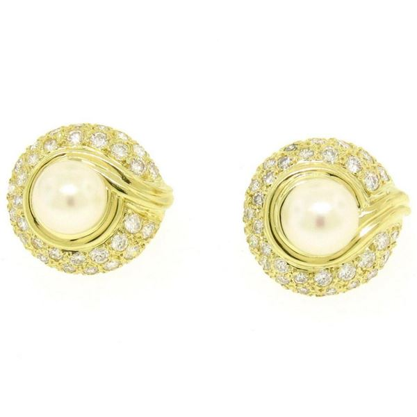 18kt Yellow Gold 1.25 ctw Cultured Pearl and Diamond Button Earrings