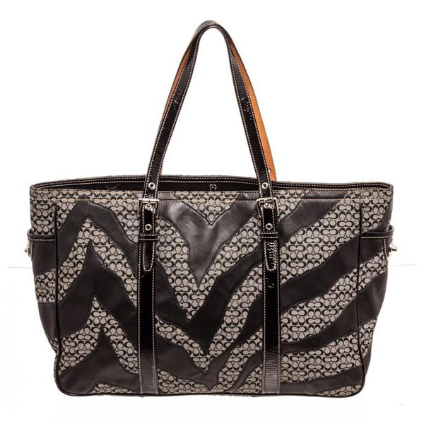 Coach Black Zebra Stripe Canvas  Leather Shoulder Bag
