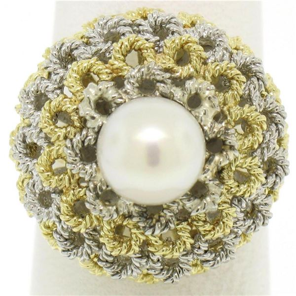 Handmade 18kt Yellow and White Gold Akoya Pearl Cocktail Ring