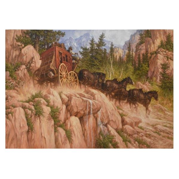 """Larry Fanning, """"Last Stage to Denver"""" Limited Edition on Canvas, APL Numbered an"""