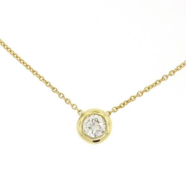 "18k Yellow Gold 0.40 ctw F VS1 Bezel Round Diamond Solitaire Pendant 18"" Chain"