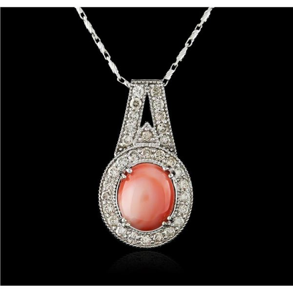 14KT White Gold 4.90 ctw Coral and Diamond Pendant With Chain