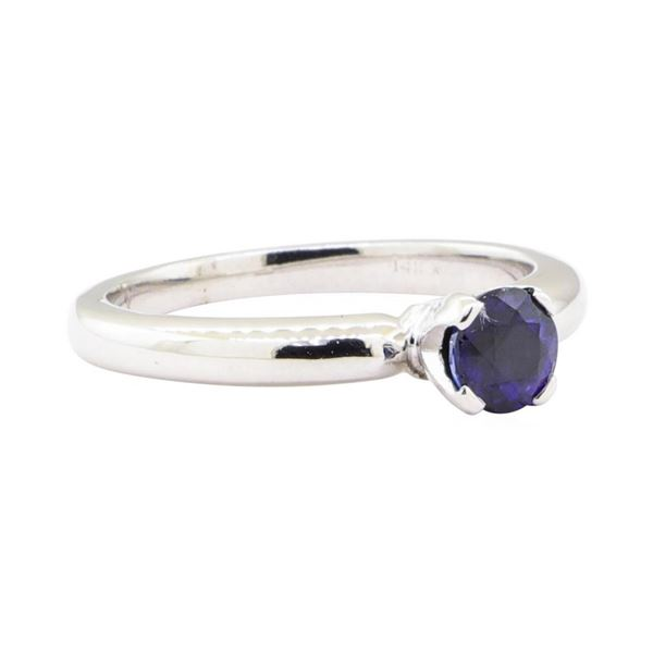 0.70 ctw Sapphire Solitaire Ring - 14KT White Gold