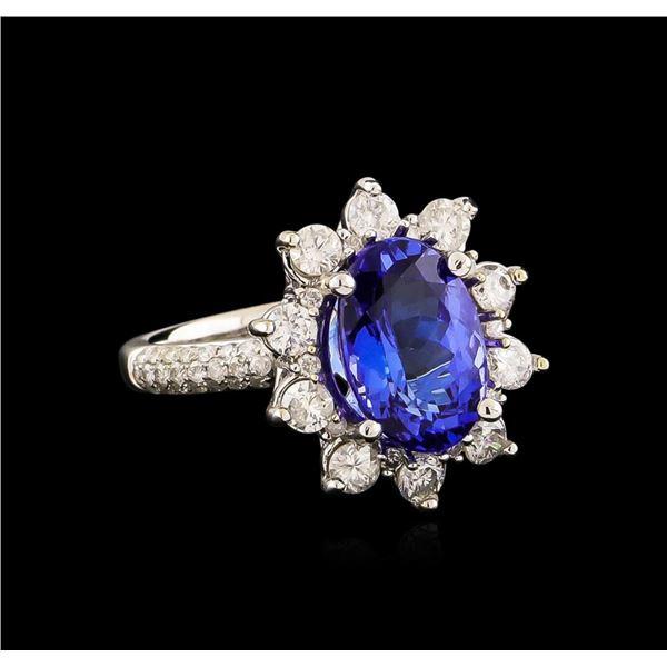 14KT White Gold 3.69 ctw Tanzanite and Diamond Ring