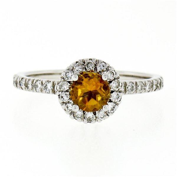 Petite 14K White Gold 0.82 ctw Citrine & Diamond Halo Engagement or Promise Ring