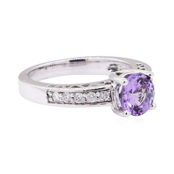 1.61 ctw Tanzanite And Diamond Ring - 14KT White Gold