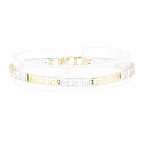 Greek Key Bracelet - 14KT Yellow and White Gold