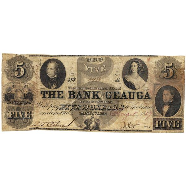 1854 $5 The Bank of Geuga, Painesville, OH Obsolete Bank Note