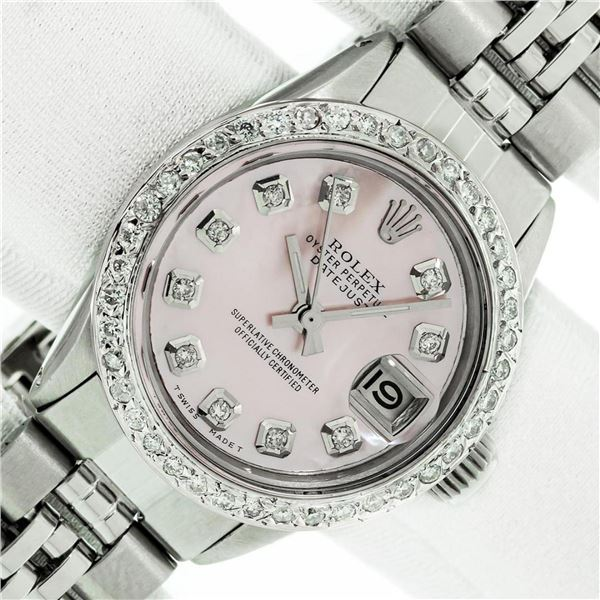 Rolex Ladies Datejust 26 Pink Mother Of Pearl Diamond Bezel Serviced Polished