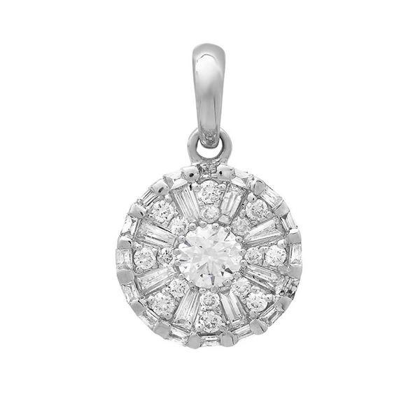 14k White Gold 0.41CTW Diamond Pendant, (SI2-SI3/H-I)