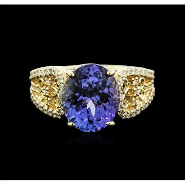 14KT Yellow Gold 4.98 ctw Tanzanite and Diamond Ring