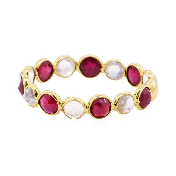 1.40 ctw Ruby and Moonstone Eternity Ring - 18KT Yellow Gold