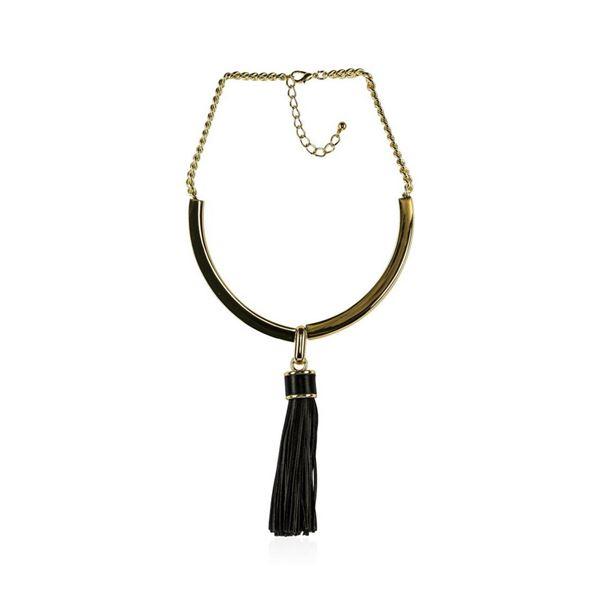 Leather Tassel Pendant Necklace - Rhodium Plated
