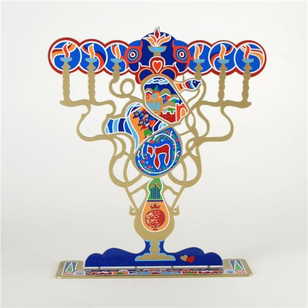 """Raphael Abecassis, """"Menorah"""" Limited Edition Metal Sculpture, Numbered and Hand"""