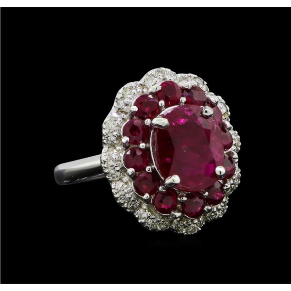 GIA Cert 4.54 ctw Ruby and Diamond Ring - 14KT White Gold