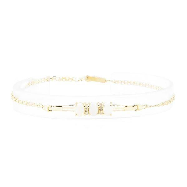 1.60 ctw Opal and Diamond Bracelet - 14KT Yellow Gold