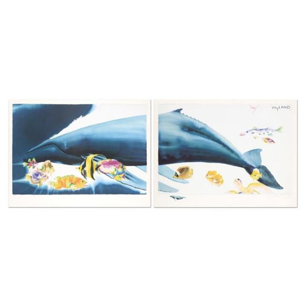 """""""I Want To Dive Into Your Ocean (Diptych)"""" Limited Edition Lithograph with Hand"""