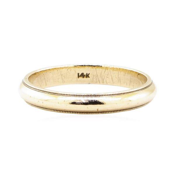 3.5mm Half Dome Milgrain Edge Wedding Band - 14KT Yellow Gold