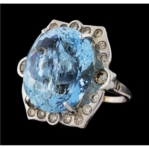 32.63 ctw Aquamarine and Diamond Ring - 14KT White Gold