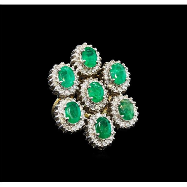 14KT Yellow Gold 4.90 ctw Emerald and Diamond Ring