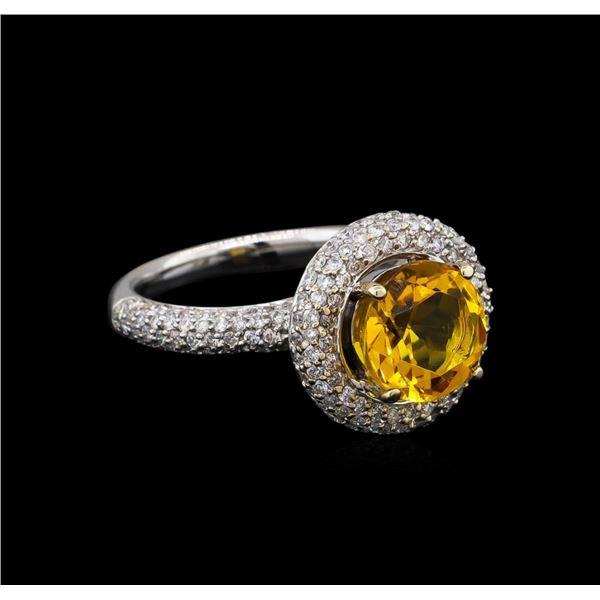 14KT White Gold 2.70 ctw Citrine and Diamond Ring