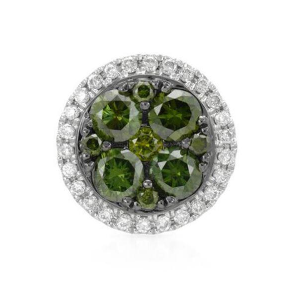 14k White Gold 0.45CTW Diamond and Green Dia Pendant, (SI/H)