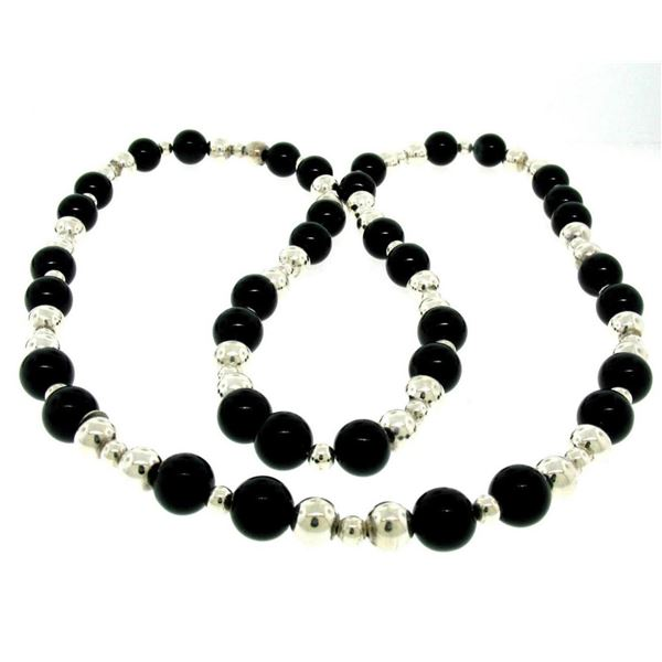 """Tiffany & Co. Sterling Silver & Black Onyx Graduated Bead Ball Long 32"""" Necklace"""