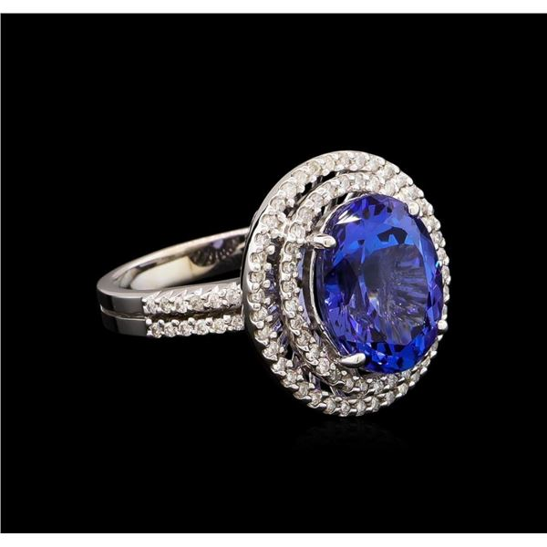 5.02 ctw Tanzanite and Diamond Ring - 14KT White Gold