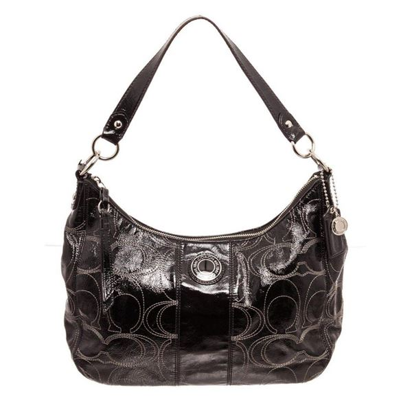 Coach Black Patent Leather Medium Shoulder Bag