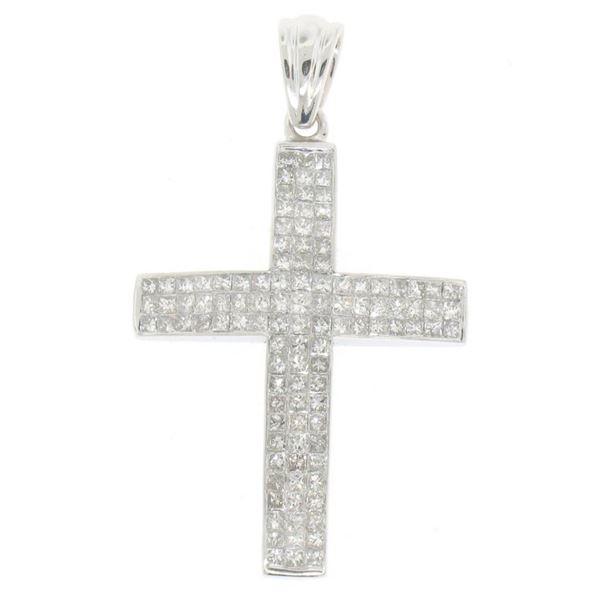 14K White Gold 3.25CTW 108 Invisible Set Princess Diamond Arched Unisex Cross