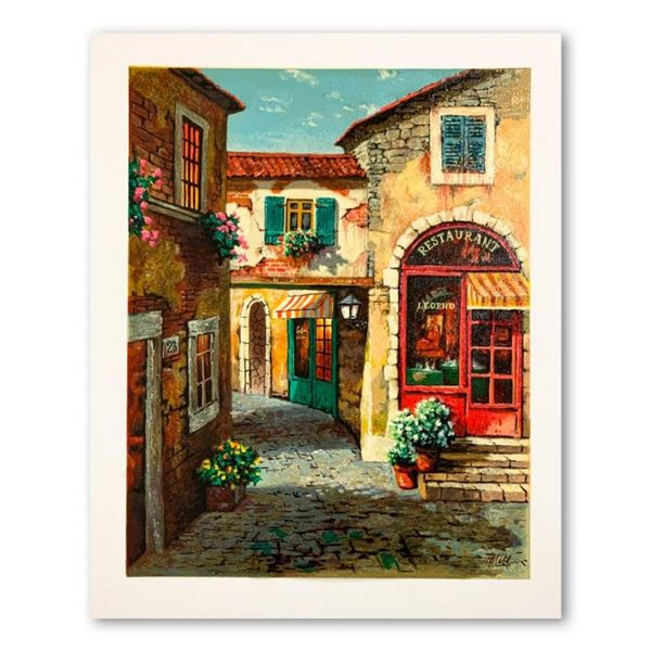 """Anatoly Metlan, """"At the Alley"""" Hand Signed Limited Edition Serigraph on Paper wi"""