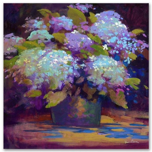 """""""Hydrangea"""" Limited Edition Giclee on Canvas by Simon Bull, Numbered and Signed."""