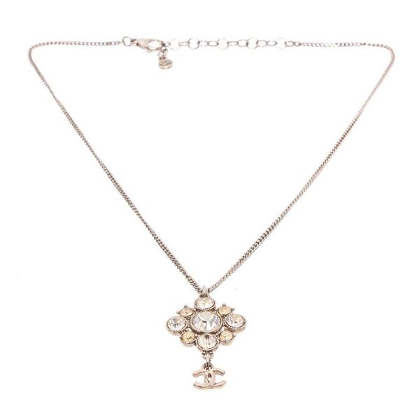 Chanel Strass CC Rhinestone Pendant Necklace