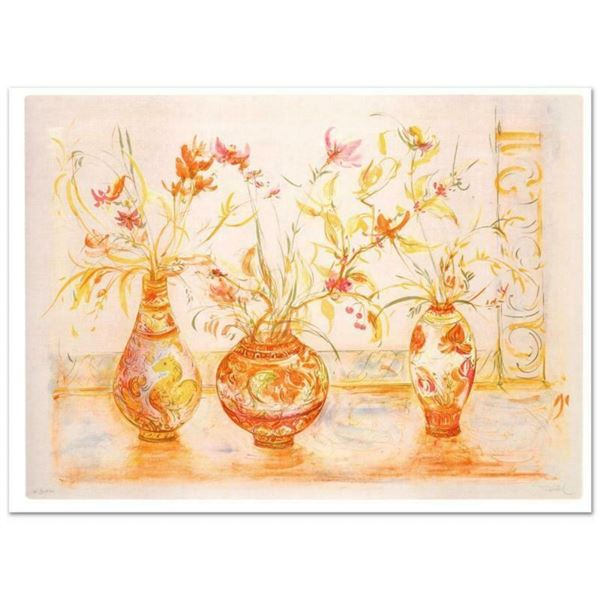 """""""Chinese Vase"""" Limited Edition Lithograph (42"""" x 29.5"""") by Edna Hibel, Numbered"""