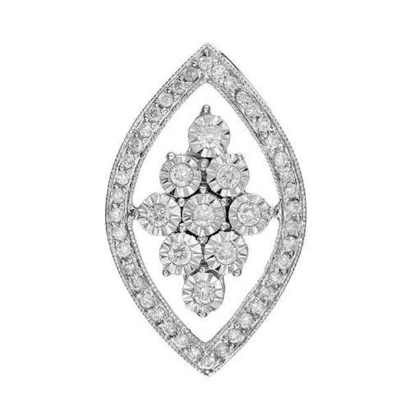 14k White Gold 0.35CTW Diamond Pendant, (I1-I2/G-H)