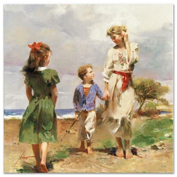 """Pino (1939-2010), """"Seaside Retreat"""" Artist Embellished Limited Edition on Canvas"""