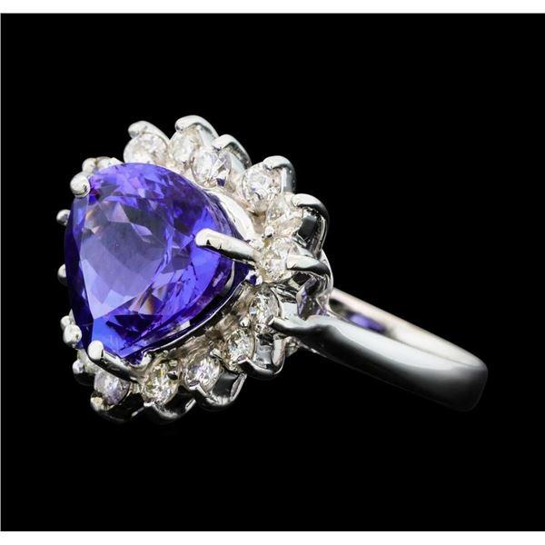 5.25 ctw Tanzanite And Diamond Ring - 14KT White Gold