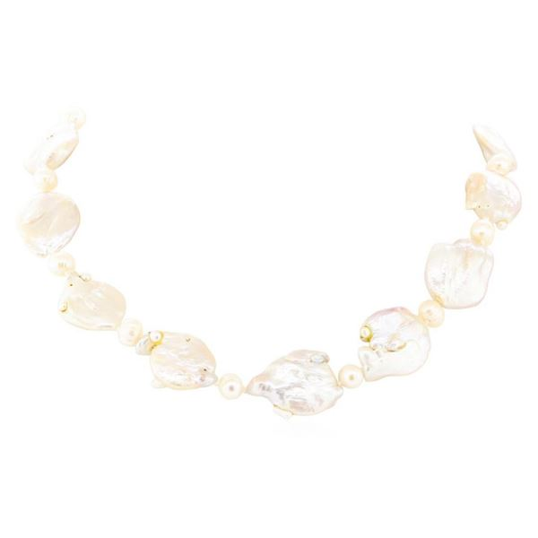 Baroque Coin Pearl Necklace - 18KT Yellow Gold