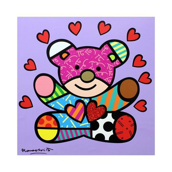 """Romero Britto """"Happy Girl"""" Hand Signed Limited Edition Giclee on Canvas; Authent"""