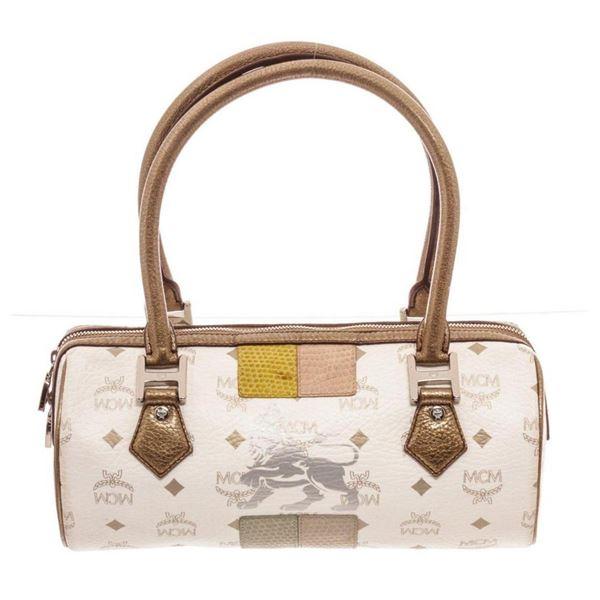 MCM White Visetos Coated Canvas  Leather Lion Shoulder Bag